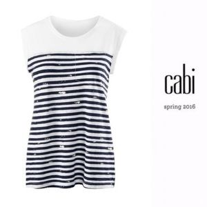 Cabi | First Mate Tee in Navy/White Cotton Size S